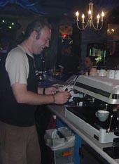 Chris making coffee
