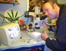 Chris at the microscope