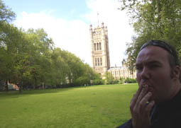 Chris has a session outside the House of Parliament, London