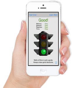 The App helps you decide whether to Walk or Drive