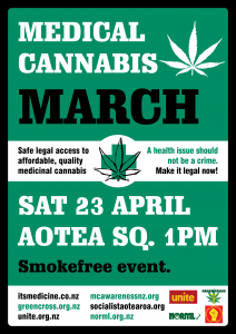 Poster for The Medical March - Saturday 23rd April 2016 in Aotea Square, Auckland, New Zealand.