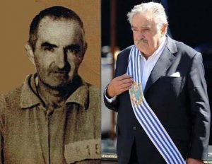 Mujica's old mugshot, and in Presidential garb.