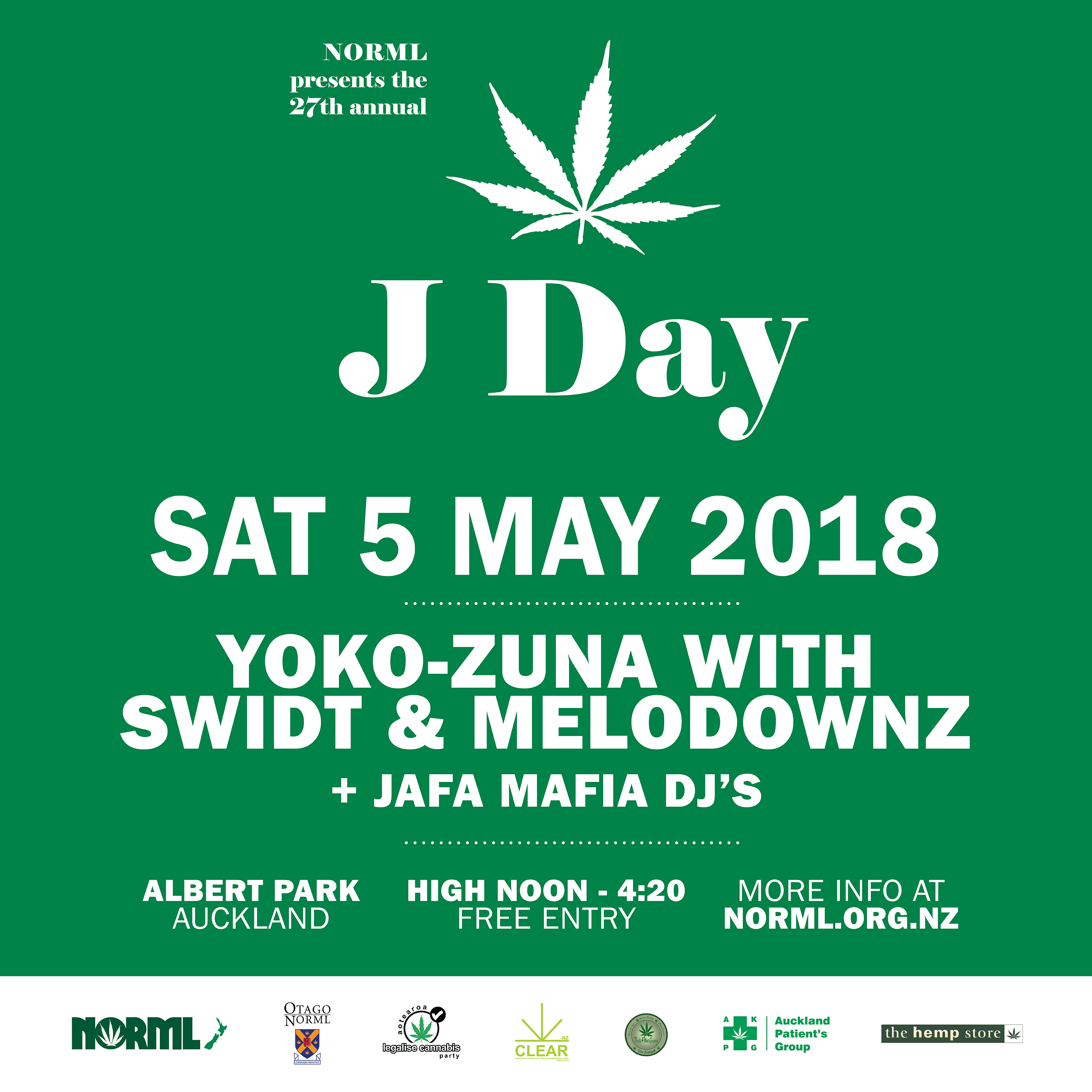 come to j day saturday 5th may 2018 norml new zealand